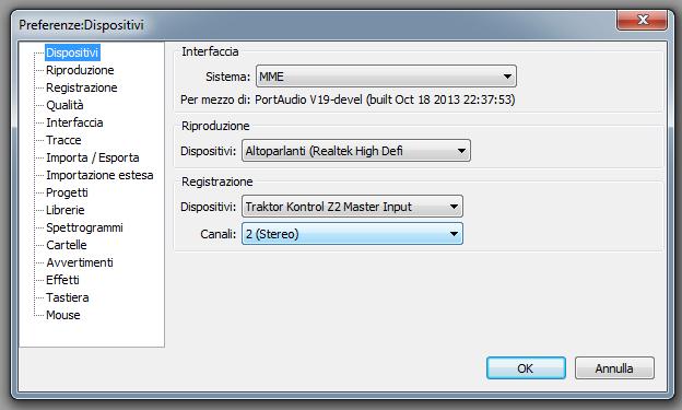 Impostazioni Audacity per registare tramite mixer