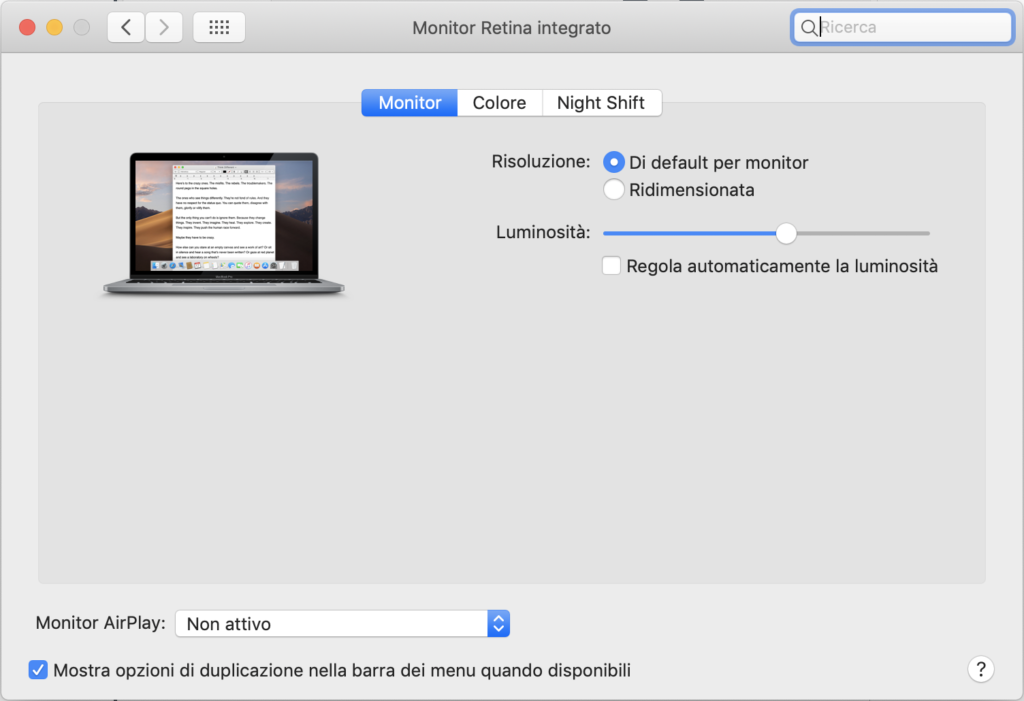regolazione automacia display macbook