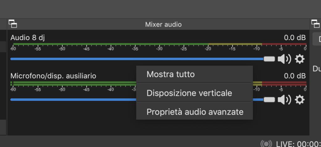 OBS Studio funzioni base mixer audio